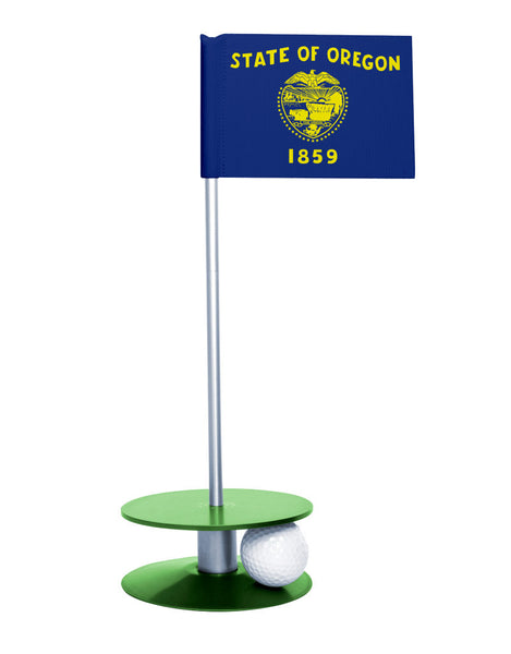 Oregon State Flag Putt-A-Round putting aid with green base. Great way to improve your golf short golf game skills. Makes a unique gift or giveaway!