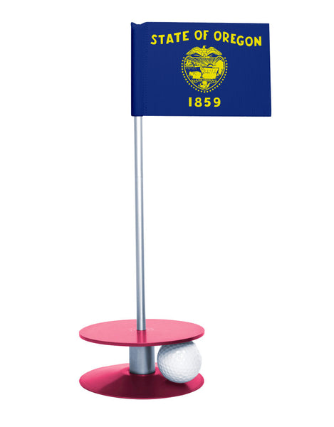 Oregon State Flag Putt-A-Round putting aid with pink base. Great way to improve your golf short golf game skills. Makes a unique gift or giveaway!