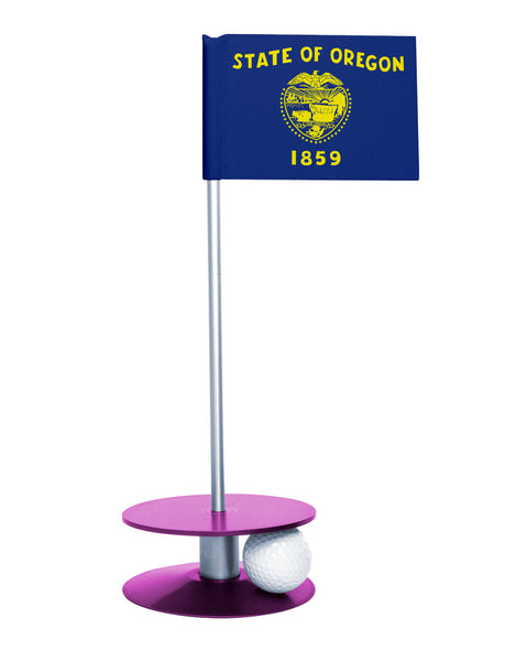 Oregon State Flag Putt-A-Round putting aid with purple base. Great way to improve your golf short golf game skills. Makes a unique gift or giveaway!