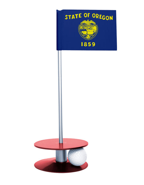 Oregon State Flag Putt-A-Round putting aid with red base. Great way to improve your golf short golf game skills. Makes a unique gift or giveaway!