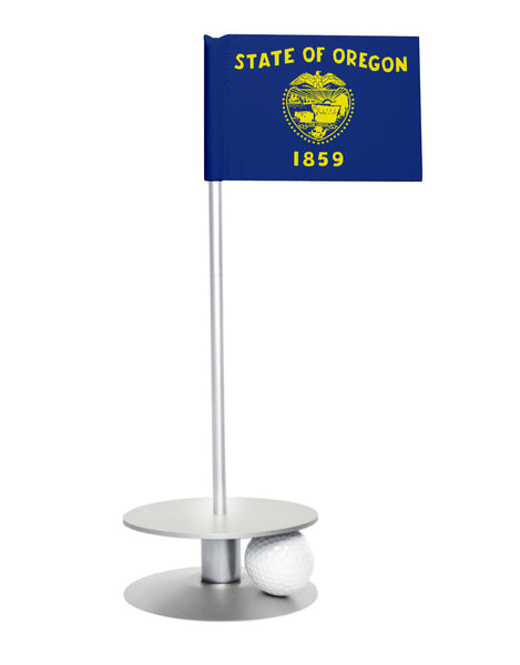 Oregon State Flag Putt-A-Round putting aid with silver base. Great way to improve your golf short golf game skills. Makes a unique gift or giveaway!