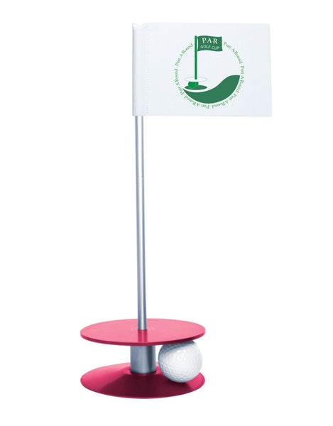 Putt-A-Round PAR Logo Putting Aid with Pink Base - Great for practicing your putting skills