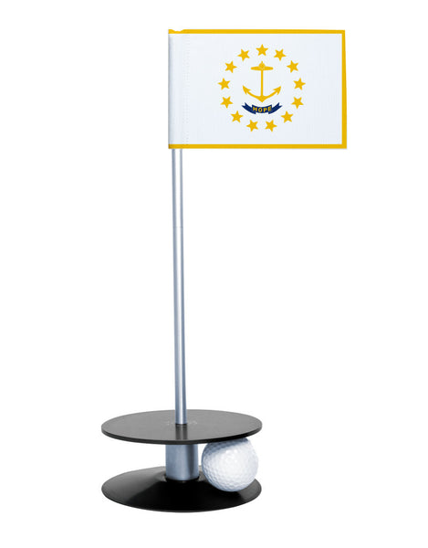 Rhode Island State Flag Putt-A-Round putting aid with black base. Great way to improve your golf short golf game skills. Makes a unique gift or giveaway!