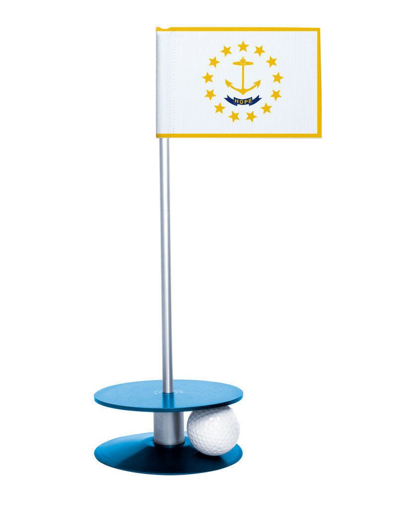 Rhode Island State Flag Putt-A-Round putting aid with blue base. Great way to improve your golf short golf game skills. Makes a unique gift or giveaway!