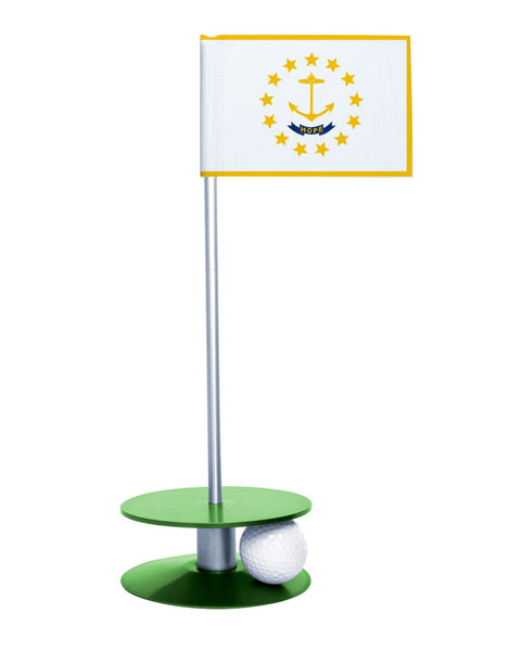 Rhode Island State Flag Putt-A-Round putting aid with green base. Great way to improve your golf short golf game skills. Makes a unique gift or giveaway!