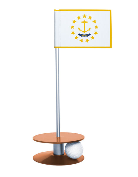 Rhode Island State Flag Putt-A-Round putting aid with orange base. Great way to improve your golf short golf game skills. Makes a unique gift or giveaway!
