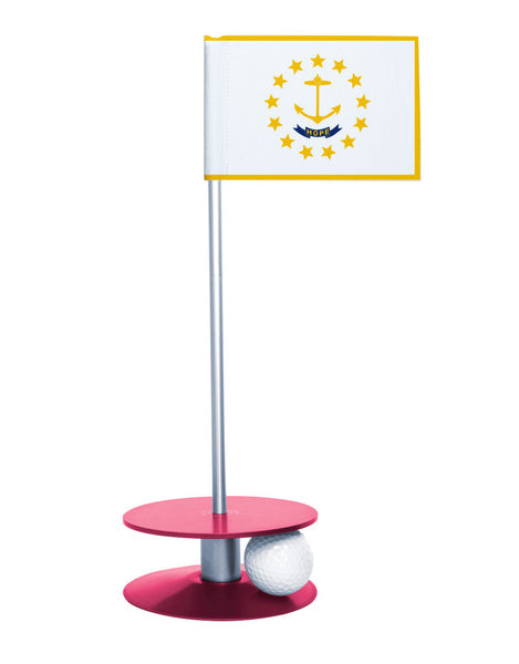 Rhode Island State Flag Putt-A-Round putting aid with pink base. Great way to improve your golf short golf game skills. Makes a unique gift or giveaway!