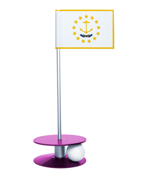 Rhode Island State Flag Putt-A-Round putting aid with purple base. Great way to improve your golf short golf game skills. Makes a unique gift or giveaway!
