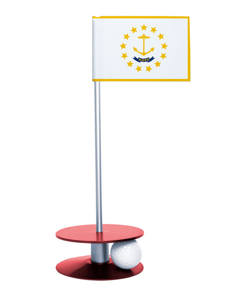 Rhode Island State Flag Putt-A-Round putting aid with red base. Great way to improve your golf short golf game skills. Makes a unique gift or giveaway!