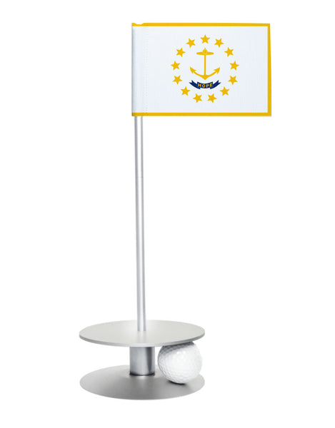 Rhode Island State Flag Putt-A-Round putting aid with silver base. Great way to improve your golf short golf game skills. Makes a unique gift or giveaway!