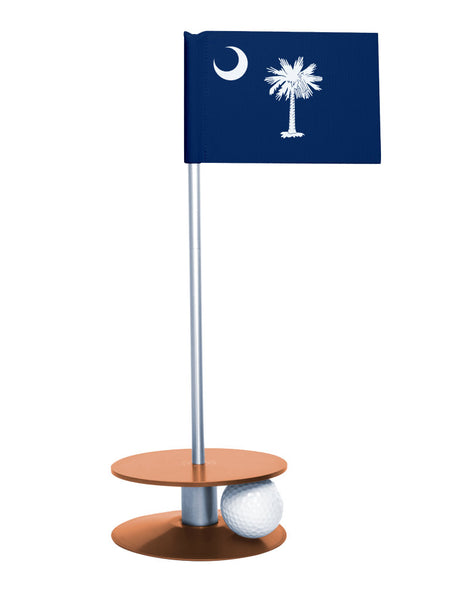 South Carolina State Flag Putt-A-Round putting aid with orange base. Great way to improve your golf short golf game skills. Makes a unique gift or giveaway!