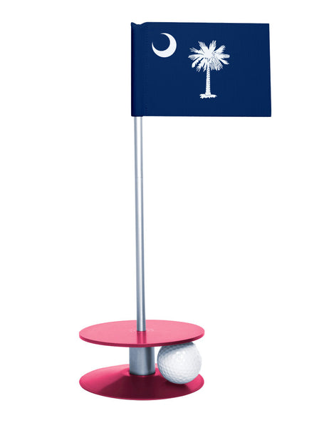 South Carolina State Flag Putt-A-Round putting aid with pink base. Great way to improve your golf short golf game skills. Makes a unique gift or giveaway!