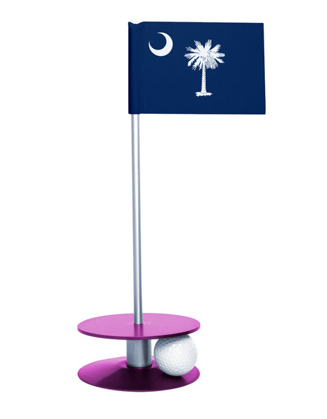 South Carolina State Flag Putt-A-Round putting aid with purple base. Great way to improve your golf short golf game skills. Makes a unique gift or giveaway!