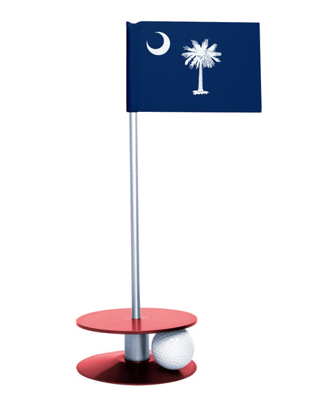 South Carolina State Flag Putt-A-Round putting aid with red base. Great way to improve your golf short golf game skills. Makes a unique gift or giveaway!