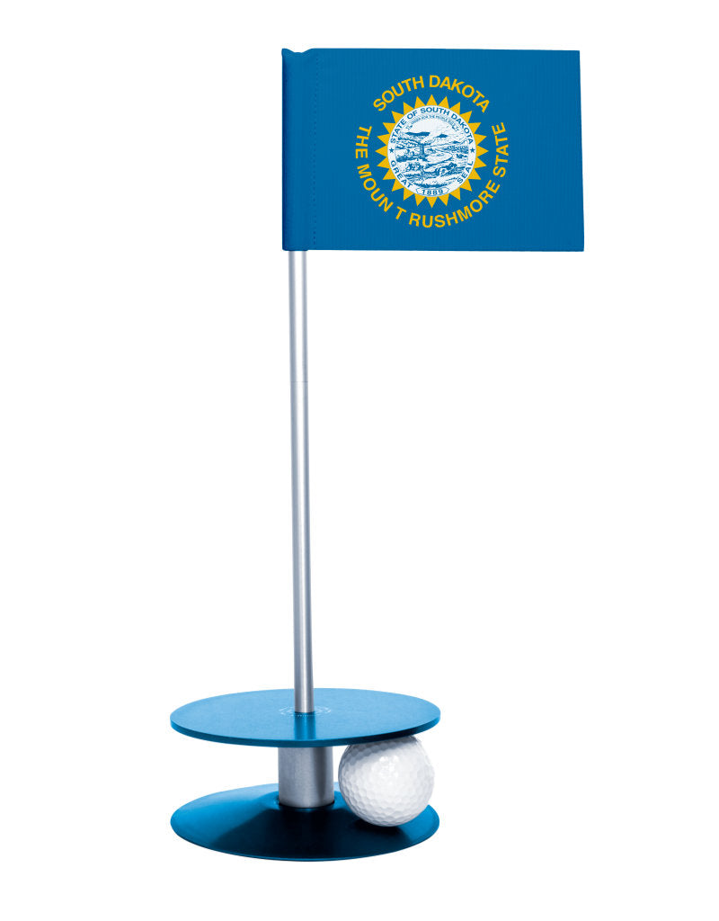 South Dakota State Flag Putt-A-Round putting aid with blue base. Great way to improve your golf short golf game skills. Makes a unique gift or giveaway!