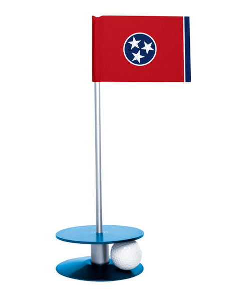 Tennessee State Flag Putt-A-Round putting aid with blue base. Great way to improve your golf short golf game skills. Makes a unique gift or giveaway!