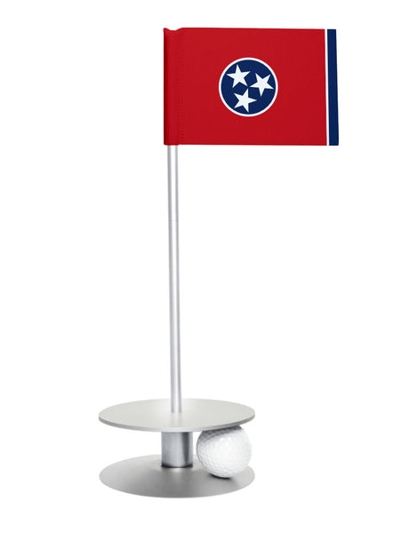 Tennessee State Flag Putt-A-Round putting aid with silver base. Great way to improve your golf short golf game skills. Makes a unique gift or giveaway!