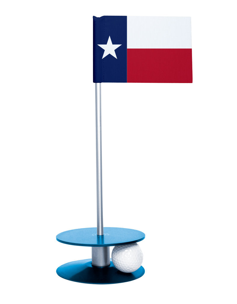 Texas State Flag Putt-A-Round putting aid with blue base. Great way to improve your golf short golf game skills. Makes a unique gift or giveaway!