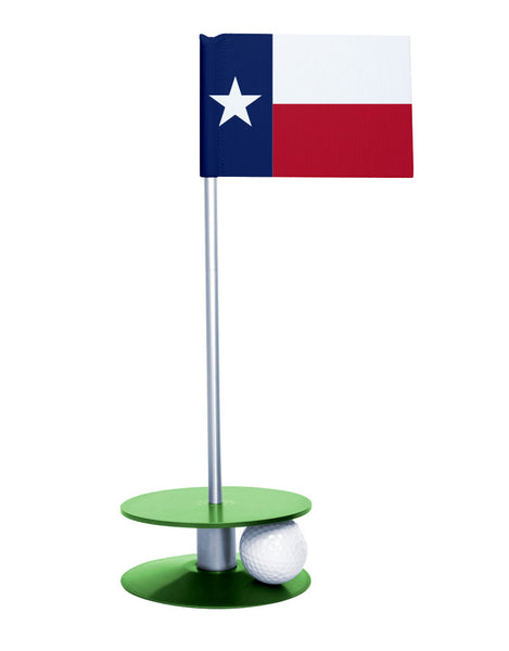 Texas State Flag Putt-A-Round putting aid with green base. Great way to improve your golf short golf game skills. Makes a unique gift or giveaway!