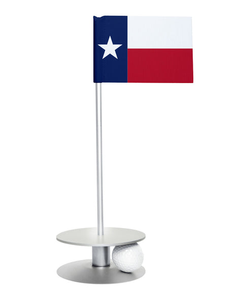 Texas State Flag Putt-A-Round putting aid with silver base. Great way to improve your golf short golf game skills. Makes a unique gift or giveaway!