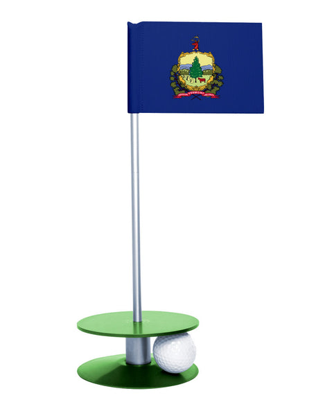 Vermont State Flag Putt-A-Round putting aid with green base. Great way to improve your golf short golf game skills. Makes a unique gift or giveaway!