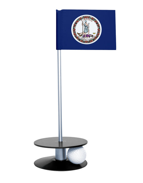 Virginia State Flag Putt-A-Round putting aid with black base. Great way to improve your golf short golf game skills. Makes a unique gift or giveaway!