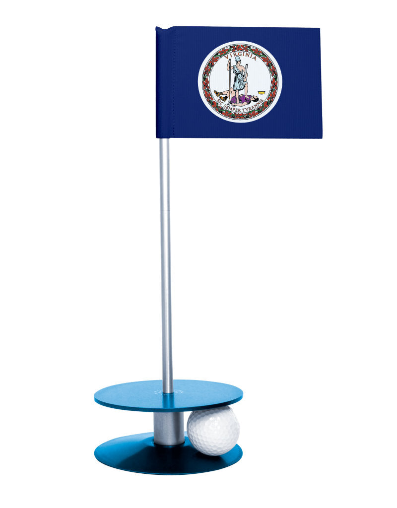 Virginia State Flag Putt-A-Round putting aid with blue base. Great way to improve your golf short golf game skills. Makes a unique gift or giveaway!