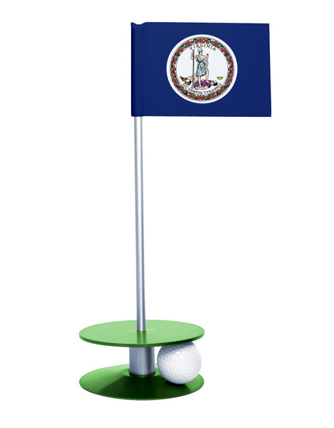 Virginia State Flag Putt-A-Round putting aid with green base. Great way to improve your golf short golf game skills. Makes a unique gift or giveaway!
