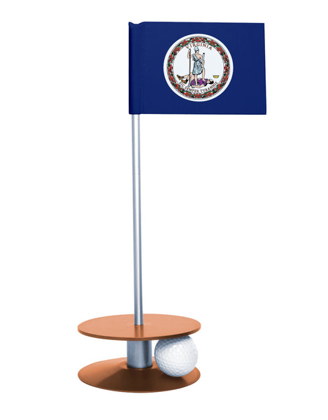 Virginia State Flag Putt-A-Round putting aid with orange base. Great way to improve your golf short golf game skills. Makes a unique gift or giveaway!