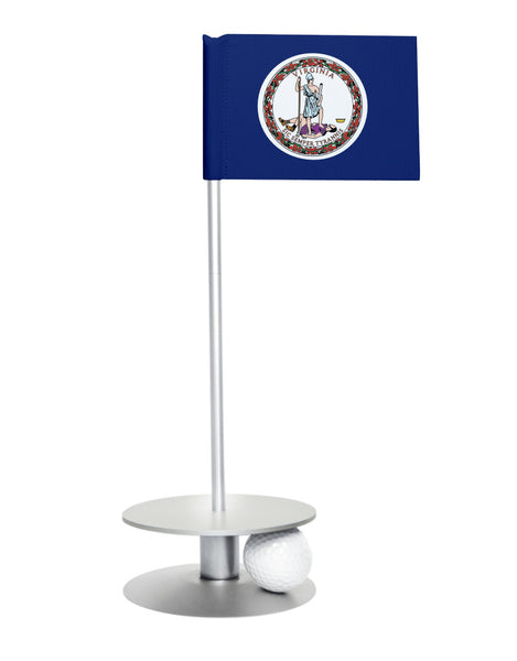 Virginia State Flag Putt-A-Round putting aid with silver base. Great way to improve your golf short golf game skills. Makes a unique gift or giveaway!