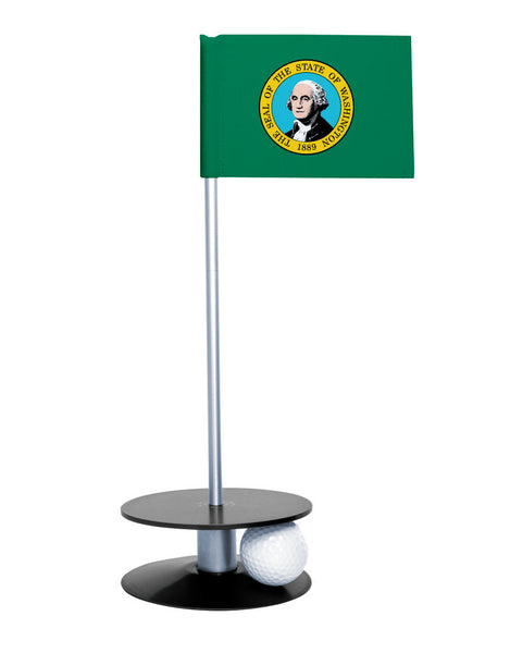 Washington State Flag Putt-A-Round putting aid with black base. Great way to improve your golf short golf game skills. Makes a unique gift or giveaway!