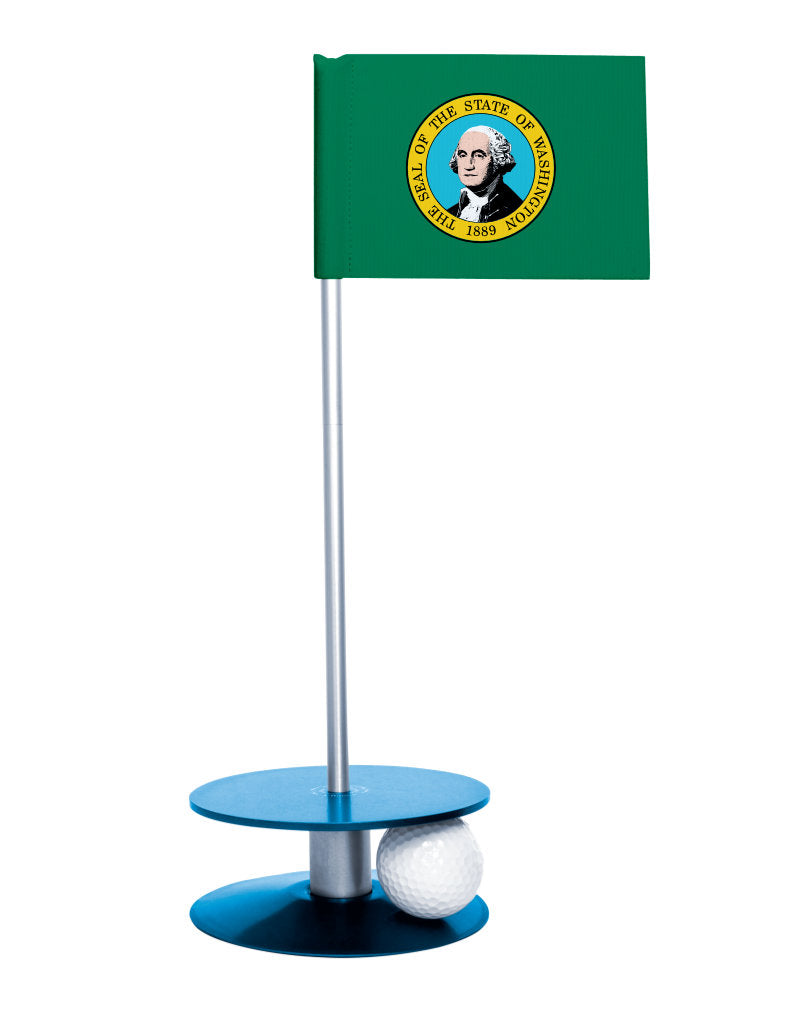 Washington State Flag Putt-A-Round putting aid with blue base. Great way to improve your golf short golf game skills. Makes a unique gift or giveaway!