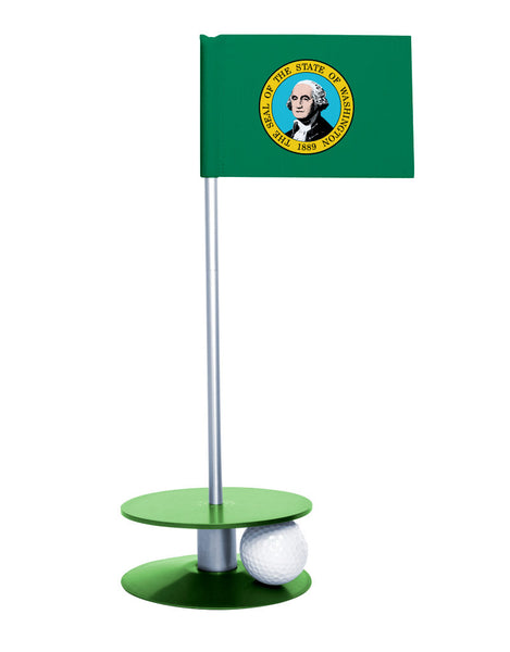 Washington State Flag Putt-A-Round putting aid with green base. Great way to improve your golf short golf game skills. Makes a unique gift or giveaway!