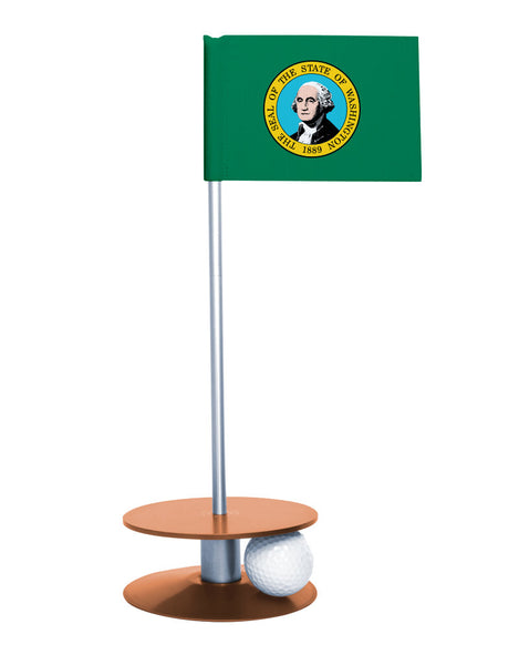 Washington State Flag Putt-A-Round putting aid with orange base. Great way to improve your golf short golf game skills. Makes a unique gift or giveaway!