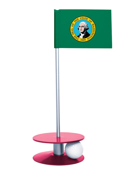 Washington State Flag Putt-A-Round putting aid with pink base. Great way to improve your golf short golf game skills. Makes a unique gift or giveaway!