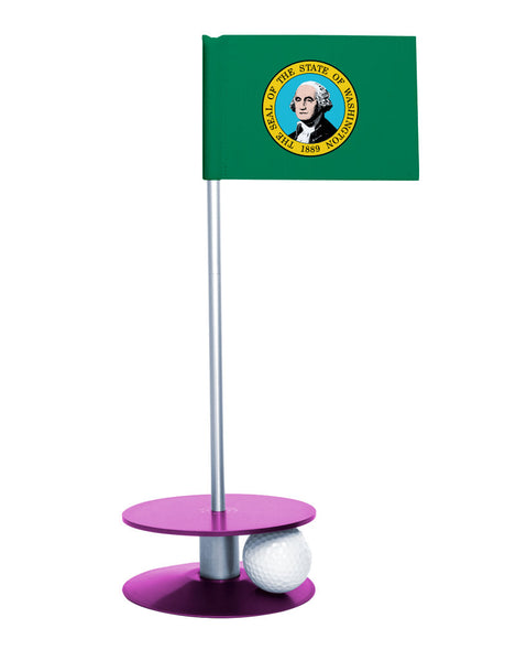 Washington State Flag Putt-A-Round putting aid with purple base. Great way to improve your golf short golf game skills. Makes a unique gift or giveaway!