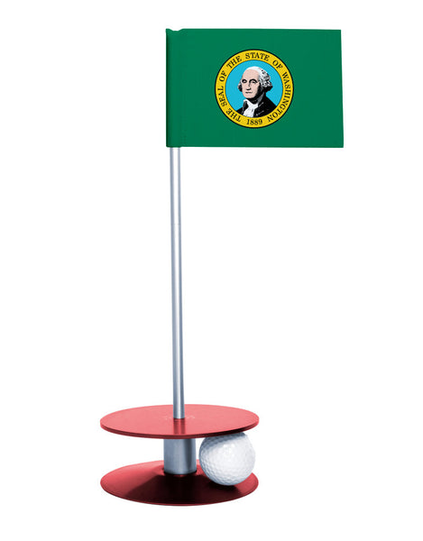 Washington State Flag Putt-A-Round putting aid with red base. Great way to improve your golf short golf game skills. Makes a unique gift or giveaway!