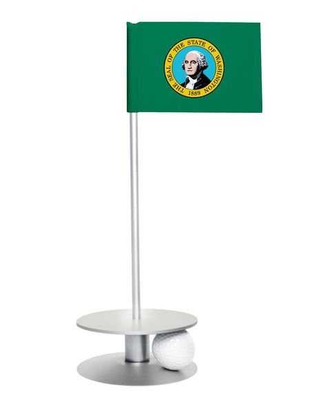 Washington State Flag Putt-A-Round putting aid with silver base. Great way to improve your golf short golf game skills. Makes a unique gift or giveaway!