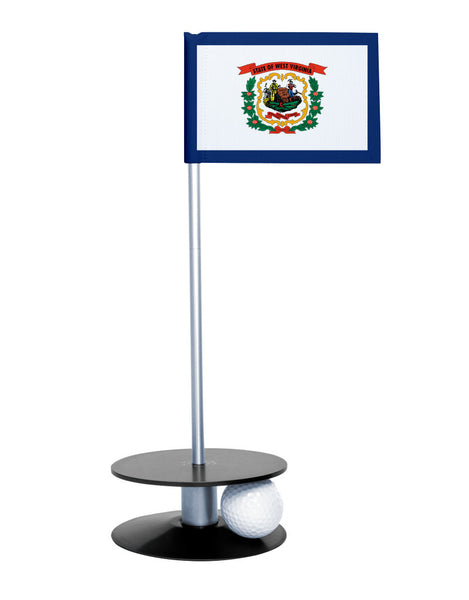 West Virginia State Flag Putt-A-Round putting aid with black base. Great way to improve your golf short golf game skills. Makes a unique gift or giveaway!