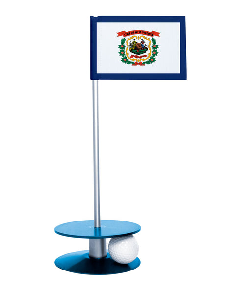 West Virginia State Flag Putt-A-Round putting aid with blue base. Great way to improve your golf short golf game skills. Makes a unique gift or giveaway!