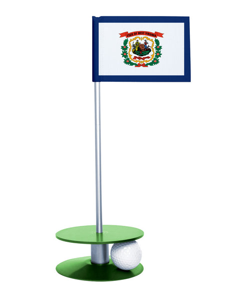 West Virginia State Flag Putt-A-Round putting aid with green base. Great way to improve your golf short golf game skills. Makes a unique gift or giveaway!