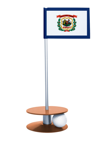 West Virginia State Flag Putt-A-Round putting aid with orange base. Great way to improve your golf short golf game skills. Makes a unique gift or giveaway!