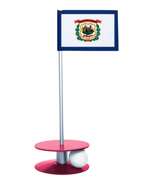 West Virginia State Flag Putt-A-Round putting aid with pink base. Great way to improve your golf short golf game skills. Makes a unique gift or giveaway!