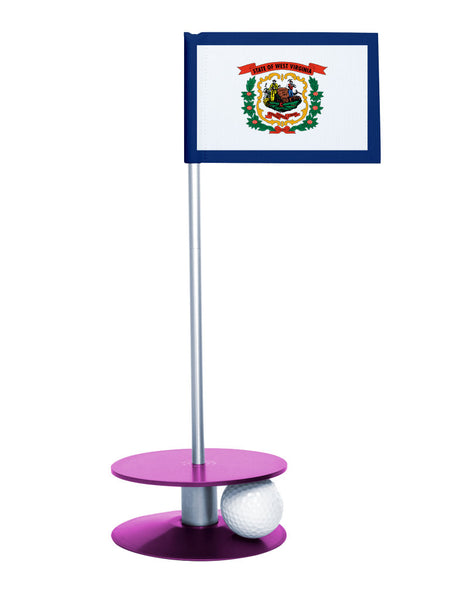 West Virginia State Flag Putt-A-Round putting aid with purple base. Great way to improve your golf short golf game skills. Makes a unique gift or giveaway!