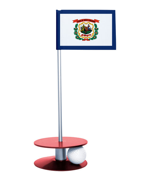 West Virginia State Flag Putt-A-Round putting aid with red base. Great way to improve your golf short golf game skills. Makes a unique gift or giveaway!