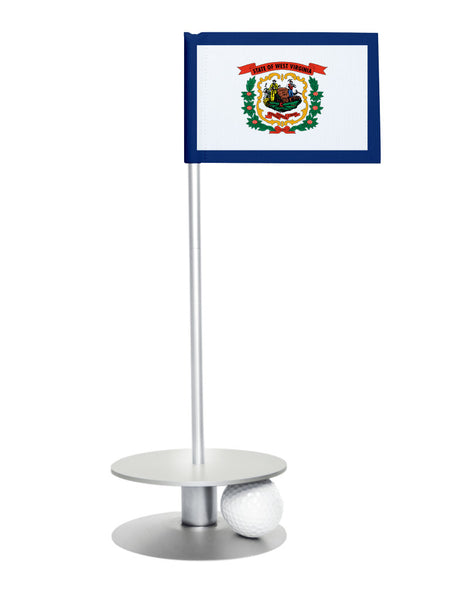 West Virginia State Flag Putt-A-Round putting aid with silver base. Great way to improve your golf short golf game skills. Makes a unique gift or giveaway!