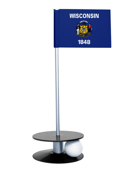 Wisconsin State Flag Putt-A-Round putting aid with black base. Great way to improve your golf short golf game skills. Makes a unique gift or giveaway!