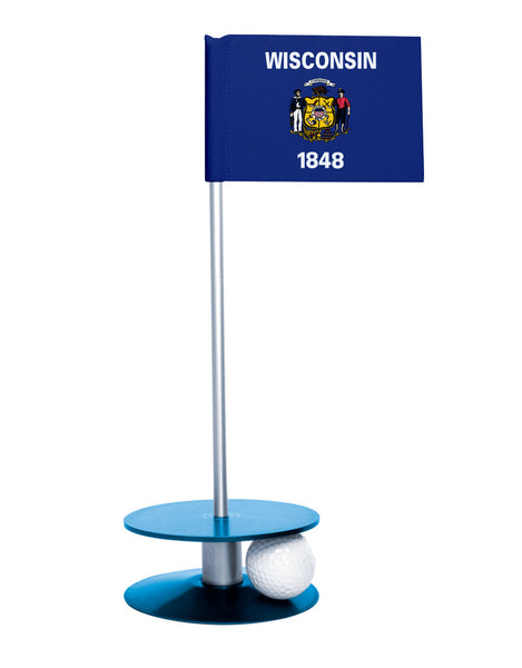 Wisconsin State Flag Putt-A-Round putting aid with blue base. Great way to improve your golf short golf game skills. Makes a unique gift or giveaway!