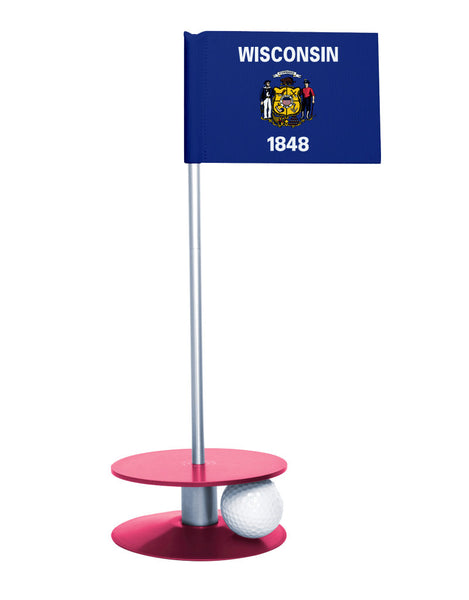 Wisconsin State Flag Putt-A-Round putting aid with pink base. Great way to improve your golf short golf game skills. Makes a unique gift or giveaway!