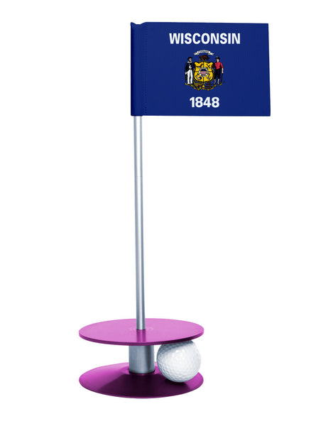 Wisconsin State Flag Putt-A-Round putting aid with purple base. Great way to improve your golf short golf game skills. Makes a unique gift or giveaway!